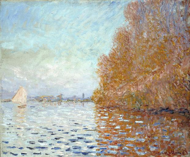 The Claude Monet painting Argenteuil Basin with a single Sailboat, 1874 which was badly damaged during an incident at the National Gallery of Ireland