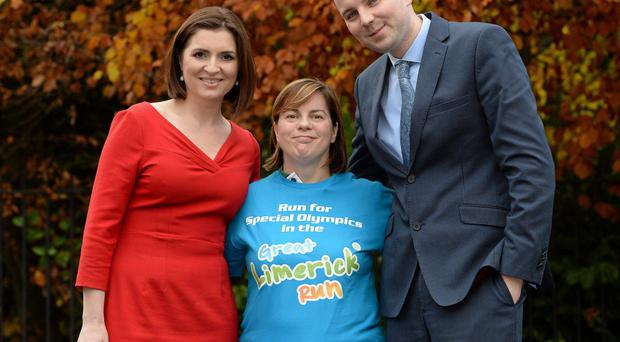 Special Olympics Ireland athlete, Christine Delaney with TV3 presenter, Colette Fitzpatrick and Newstalk Breakfast host, Chris Donoghue at the announcement of Special Olympics Ireland as Official Charity Partner for the 2014 Great Limerick Run