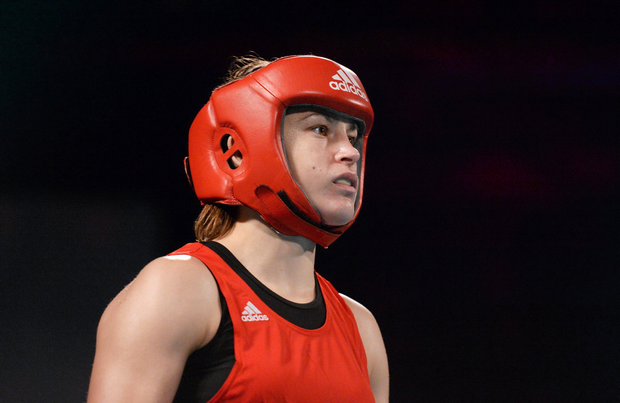 Ireland's Katie Taylor, Bray Boxing, right, concentrates before her fight with Caroline Verveyre, Canada. Road to Rio with Katie Taylor and Bray Boxing Club, Mansion House, Dublin. Picture credit: Paul Mohan / SPORTSFILE