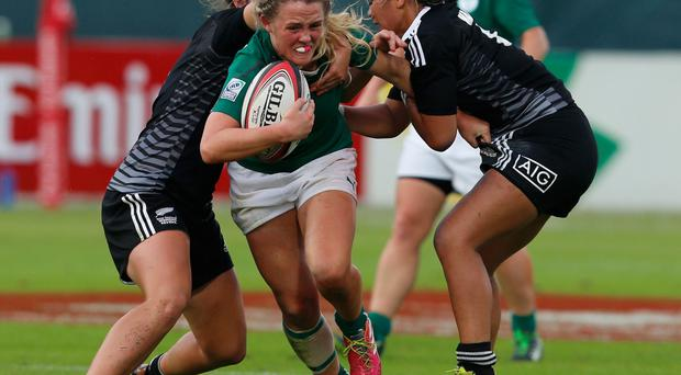 Ashleigh Baxter of Ireland in action during the Dubai Sevens match between New Zealand and Ireland on Thursday (Photo by Francois Nel/Getty Images)