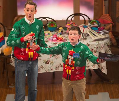 Fergal Smith from Cavan (11) and Ryan Tubridy on the Late Late Toy Show