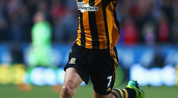 David Meyler of Hull City celebrates scoring his team's second goal during the Barclays Premier League match between Hull City and Liverpool