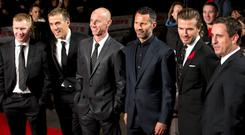 Soccer players (L-R) Paul Scholes, Phil Neville, Nicky Butt, Ryan Giggs, David Beckham and Gary Neville attend the world premier of the film