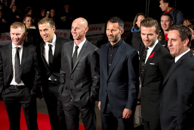 Paul Scholes, Phil Neville, Nicky Butt, Ryan Giggs, David Beckham and Gary Neville attend the world premier of the film
