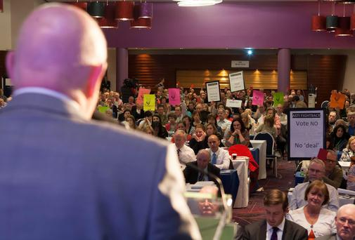 Minister for Education Ruairí Quinn addresses the Annual Convention of ASTI at Whites Hotel, Wexford earlier this year