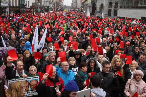 Campaigners marched against the property tax in Dublin in April
