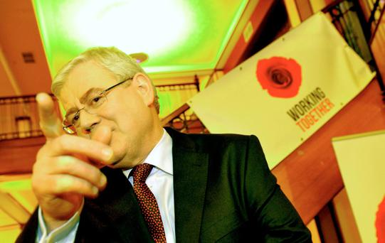 Labour leader Eamonn Gilmore arriving at the Labour Party annual conference in Killarney