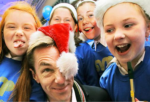 Ryan Tubridy clowns with schoolchildren at the launch of this year's St Vincent de Paul Christmas appeal: 'In the wake of the topup scandal, all charities are being unfairly pilloried with an issue that is miles from their reality.'