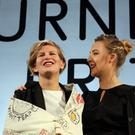 Irish actress Saoirse Ronan (right), with Laure Prouvost after announcing her as the winner of this year's Turner Prize at the Venue in Derry
