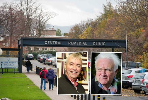 Paul Kiely (left) was paid a €136,000 top-up; the entrance to the Central Remedial Clinic (main); and (right) Des Peelo