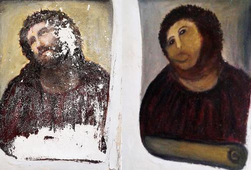 The Ecce Homo fresco of Christ before (left) and after (right) an amateur artist took it upon herself to restore it in the church of the northern Spanish town of Borja. AP PHOTO