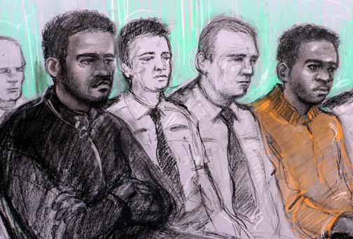 Court artist sketch by Elizabeth Cook of the two men accused of the murder of Fusilier Lee Rigby, Michael Adebolajo (left) and Michael Adebowale (right) during their trial at the Old Bailey