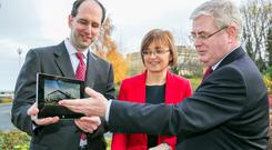 Pictured from left is Scott Guthrie, Corporate VP, Microsoft Windows Azure; Cathriona Hallahan, Managing Director, Microsoft Ireland;and Tánaiste Eamon Gilmore.