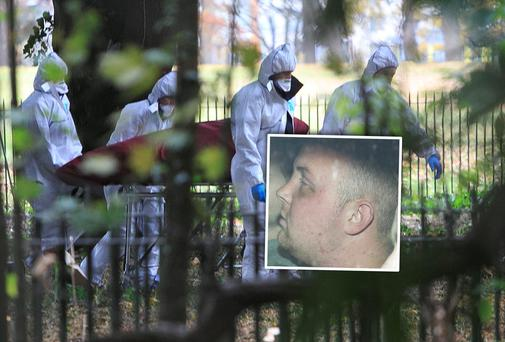 Members of the Gardai remove the body of Gerard Donnelly the Phoenix Park. Inset: Ciaran Moran who has been charged with Mr Donnelly's murder