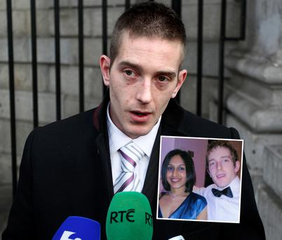 Michael Kivlehan speaking to the media outside the Four Courts in Dublin. Inset: Michael and Dhara, they met in London in 2002