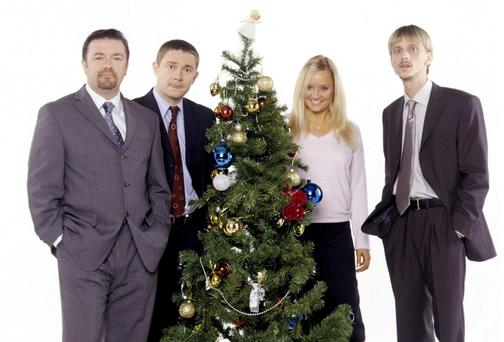 BBC handout picture of David Brent (Ricky Gervais), Tim (Martin Freeman), Dawn (Lucy Davis) and Gareth Keenan (Mackenzie Crook) to promote The Office Christmas Special.