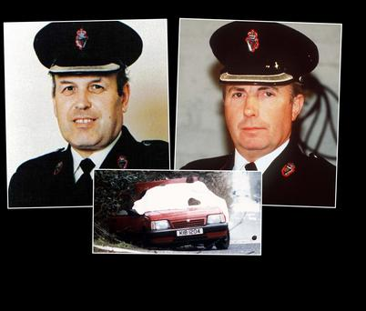 Supt Bob Buchanan, left, Chief Supt Harry Breen and the scene of the attack in Co Armagh.