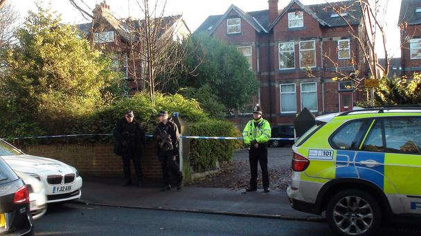 Police at the scene at Cardigan Road, Hyde Park, Leeds where a police officer was injured as West Yorkshire Police.