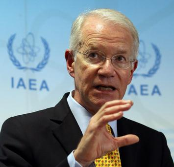 Joseph E. Macmanus permanent U.S. Representative to the United Nations office in Vienna addresses the media during a news conference after a meeting of the the International Atomic Energy Agency