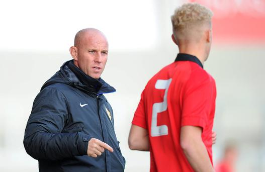 Manchester United's U19's coach Nicky Butt talks with James Weir during the UEFA Youth League Group A match at The AJ Bell Stadium, Salford
