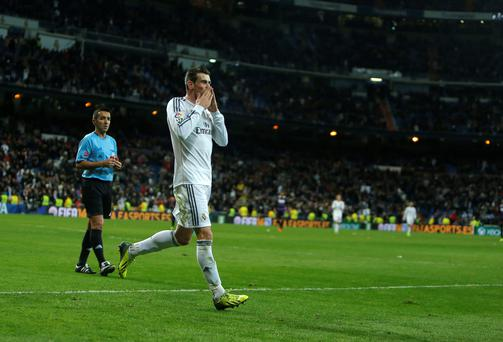 Real Madrid's Gareth Bale from Britain celebrates a goal