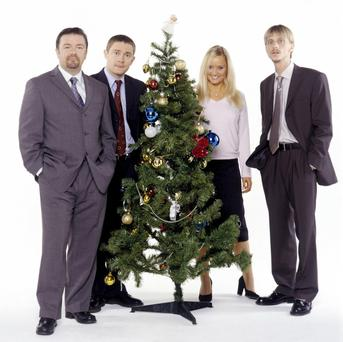 David Brent and staff get ready to celebrate Christmas at The Office