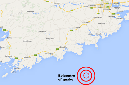 The epicentre was off the south coast of Cork