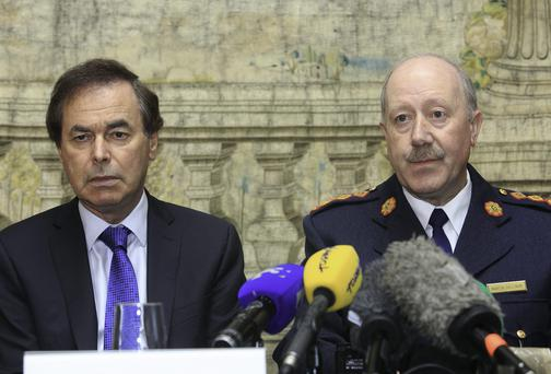 Justice Minister Alan Shatter and Garda Commisioner Martin Callinan speaking to media on the findings of the Smithwick Tribunal at Farmleigh Phoenix Park