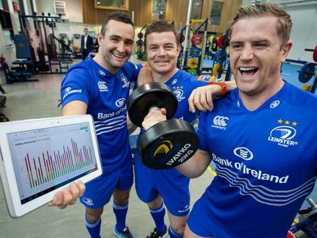Dave Kearney, Brian O'Driscoll and Jamie Heaslip at the launch of the deal with Samsung