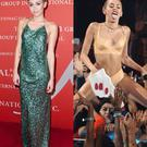 Left: Miley Cyrus at the Night of Stars event. Right: Miley Cyrus performing at the VMAs Photo: Getty, Rex