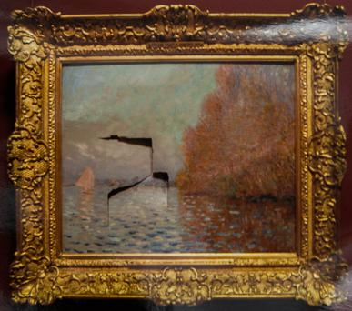 Damaged Claude Monet painting worth €10m which this evening a jury failed to reach a decision on whether Andrew Shannon was guilty of criminal damage to it at the National Gallery of Ireland in Dublin in June, 2012. Pic: Courtpix