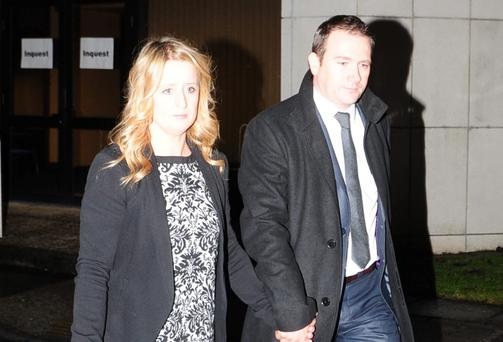 Roisin and Mark Molloy leaving Portlaoise County Council buildings in Portlaoise, Co Laois, at the inquest in to their son's death. Photo: James Flynn/APX