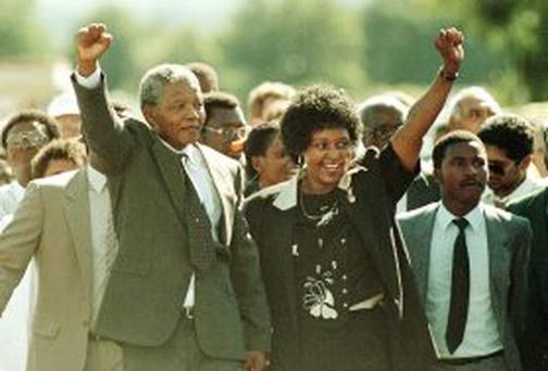 Nelson Mandela and Winnie Mandela a as he is released from the Victor Vester Prison after 27 years of imprisonment