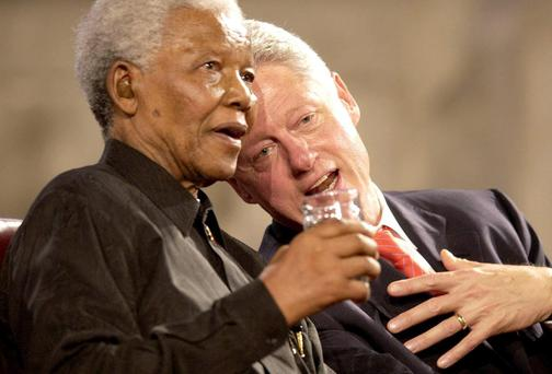Nelson Mandela with former US President Bill Clinton