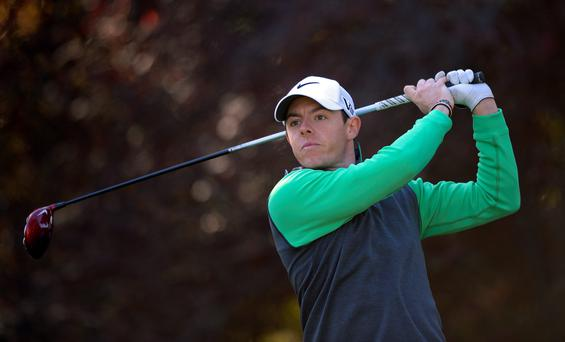 Rory McIlroy, of Northern Ireland, tees off