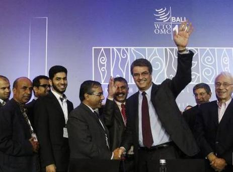 Director-General Roberto Azevedo gestures as he is congratulated by delegates after the closing ceremony of the ninth World Trade Organization (WTO) Ministerial Conference in Nusa Dua, on the Indonesian resort island of Bali December 7, 2013. (Pic: Reuters)
