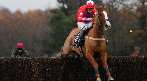 Jamie Moore riding Sire De Grugy clear the last to win The BetVictor Tingle Creek Steeple Chase at Sandown
