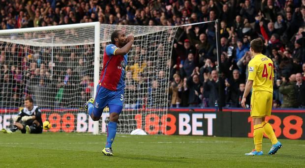 Crystal Palace's Cameron Jerome celebrates scoring his sides' first goal