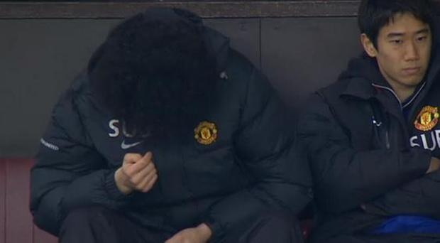 Marouane Fellaini doesn't seem to concerned with things happening in the field at Old Trafford today