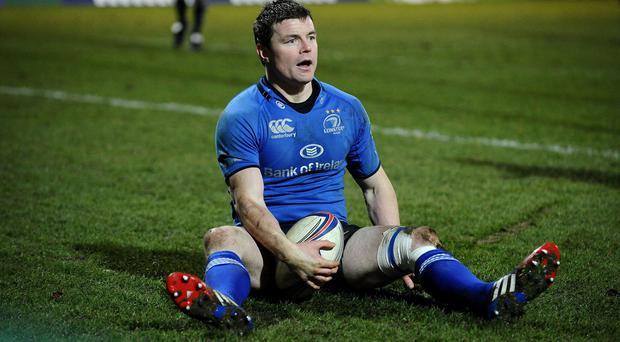 Leinster's Brian O'Driscoll after scoring a try during the Heineken Cup match at Franklins Gardens