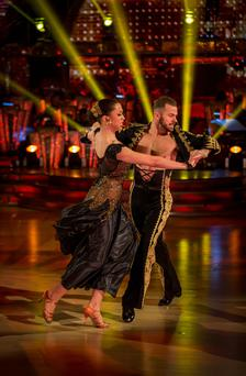 Natalie Gumede and Artem Chigvinstev performing during rehearsals for the BBC programme Strictly Come Dancing. Guy Levy/BBC/PA Wire