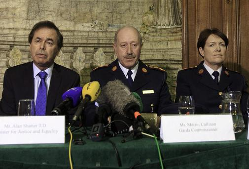 BLACK DAY FOR THE FORCE: Justice Minister Alan Shatter, Garda Commissioner Martin Callinan, above, and his deputy Noirin O'Sullivan following the publication of the report.