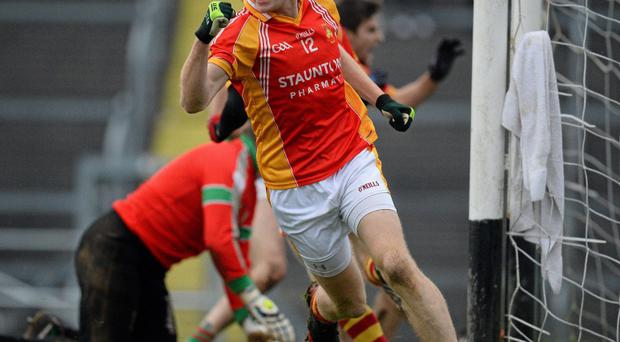 Richie Feeney, Castlebar Mitchels, celebrates after scoring his side's third goal against St Brigid's, Roscommon