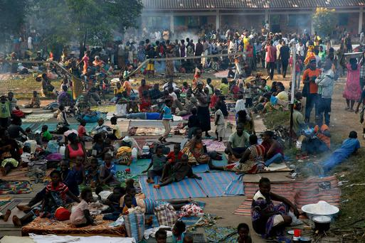 Internally displaced people gather in the Don Bosco Center outside Bangui, Central African Republic