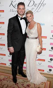Keith Duffy and Lisa Duffy pictured at Keith Duffy's Masquerade Ball at The Powerscourt Hotel Picture:Brian McEvoy