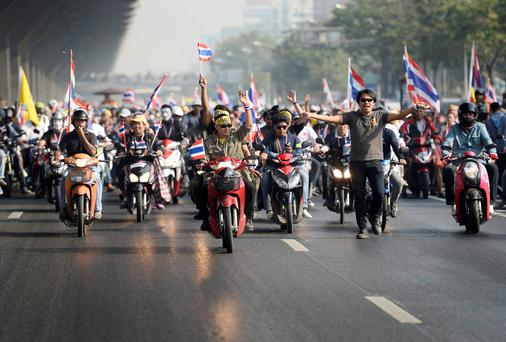 Anti-government protesters at an anti-government rally in Bangkok