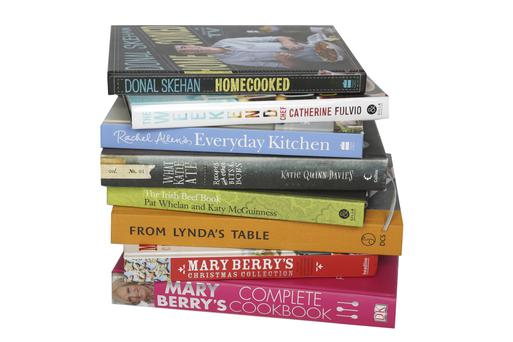 1 Donal Skehan's 'Homecooked', €18.99 (HarperCollins), 2 Catherine Fulvio's 'The Weekend Chef - Easy Food for Lazy Days', €22.99 (Gill & Macmillan), 3 Rachel Allen's 'Everyday Kitchen', €22.99 (HarperCollins), 4 'What Katie Ate' by Katie Quinn Davies, €33.35 (HarperCollins), 5 'The Irish Beef Book' by Pat Whelan and Katy McGuinness, €22.99 (Gill & Macmillan), 6 'From Lynda's Table' by Lynda Booth, €24.99 (DCS), 7 'Mary Berry's Christmas Collection', €21.99 (Headline)8 'Mary Berry's Complete Cookbook', €33.35 (DK)