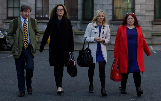 SOUND Committee members, from left to right, Tom Matthews, Mairead Lawless, Eilis Plunkett and Mary Fitzpatrick (Sufferers Of Unique Narcolepsy Disorder) lleaving court today after the High Court hearing. Pic: Collins Courts