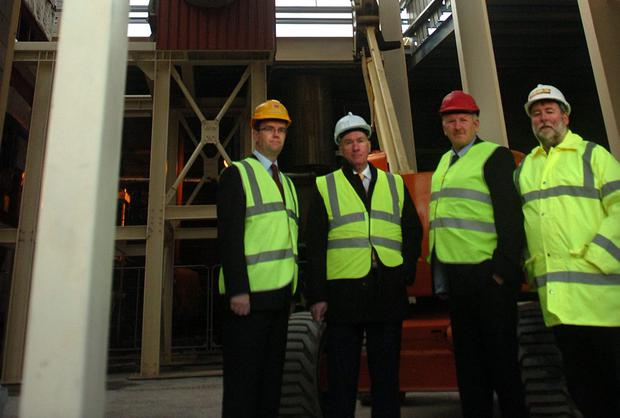 Pic 3: Pictured yesterday at the Aurivo dairy ingredients plant in Ballaghaderreen where the installation of a wood-fuelled new energy system got underway, from left; Eoghan Sweeney, dairy manager, Aaron Forde, Aurivo chief executive, Padraig Gibbons, chairman of Aurivo, and Alan Fox, HDS Energy, suppliers of the plant,