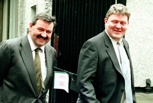 Brothers Michael and Tom Bailey at the Flood Tribunal in 1999